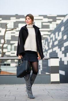 Black skirt + coat