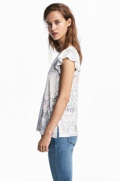 Jersey top - White/Floral - Ladies   H&M GB