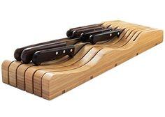 Saganizer In-drawer knife block wooden knife holder