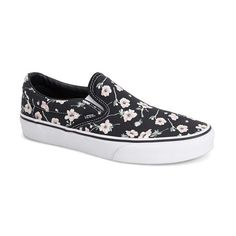Vans 'Classic' Floral Print Slip-On ($50) ❤ liked on Polyvore featuring shoes, sneakers, blue graphite, vans trainers, blue slip on shoes, vans footwear, slip on sneakers en floral print shoes
