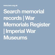 Search memorial records | War Memorials Register | Imperial War Museums