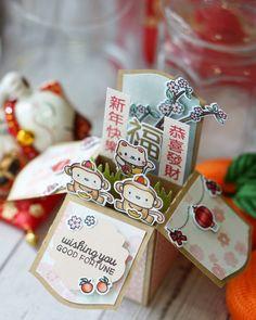 Lunar New Year Card in a box using Mama Elephant Lunar Extras & Lunar Animals stamps & die set.