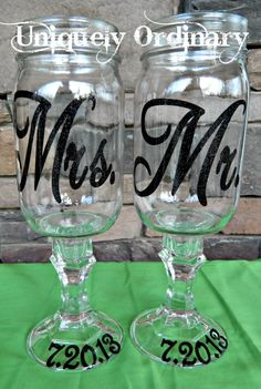 Mr. and Mrs. Redneck Wine Glasses  Can be made for any occasion   Perfect for a unique wedding gift or gift for that newly married couple. $30.00, via Etsy.