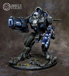 CoolMiniOrNot - Tau Empire Y'Vahra Battlesuit by Awaken Realms Tau Warhammer, Warhammer Figures, Warhammer Models, Warhammer 40k Miniatures, Tau Battlesuit, Optimus Prime Toy, Tau Army, Tau Empire, Sci Fi Models