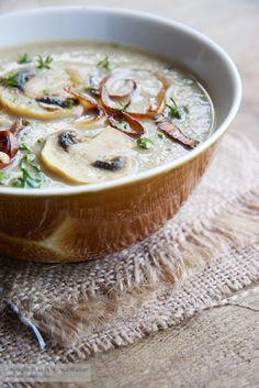 This is a lovely filling winter soup. It's mildly sweet from the chestnuts and parsnips yet also earthy from the mushrooms. It is fancy enough to be used for a holiday, but also delicious as an everyd