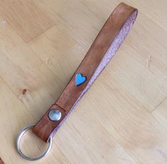 Leather Heart Key Ring Wristlet Lanyard Key Fob Personalized Turquoise and Java Brown Monogrammed