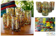 Create a fabulous fiesta anywhere with these charming contemporary glass tumblers from Mexico. This striking set of six hand blown glass tumblers features a bold and colorful pattern that looks like confetti. They are also dishwasher safe.