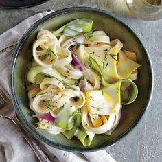 Squash Ribbon Pasta with Herb Cream Sauce | MyRecipes.com Draining the hot cooked pasta over the squash ribbons softens the vegetables just enough to keep their fresh texture yet combine well with the pasta.