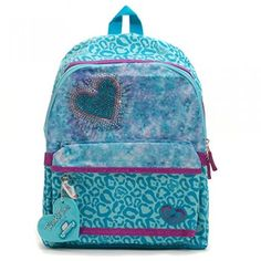 Twinkle Toes Teal Purple Print Sparkle Light Up Heart Girls Backpack