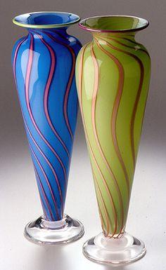 Cane vases. Hanson Art Glass