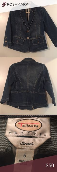 Talbots Petite Jean Jacket Jean Jacket with 3/4 sleeves. Double vented back. Pockets. Buttons on cuff. Button close. Talbots Jackets & Coats Jean Jackets