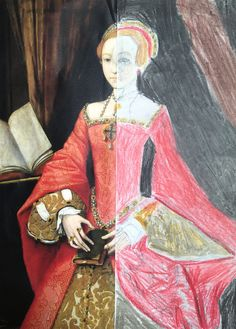 Tudor portraits with Year 4, KS2. Slice a photocopy in half of a royal Tudor, in this case a young Princess Elizabeth. Draw in outline of the other half, then use pencil crayons to fill in the colour & details.
