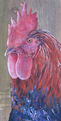 antiqued painted rooster.
