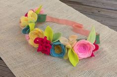 Felt Flower Crown // BRIGHTS // Turquoise Pinks by fancyfreefinery, $23.50