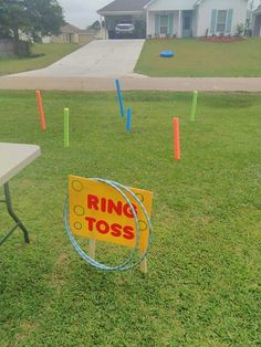 Ring toss carnival game we made out of pool noodles and hula hoops. We stuck…