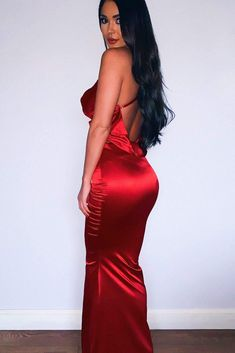 Crisantemi - Cherry Red Satin Gown with Cowl Neckline & Draped Back Red Satin Dress, Satin Gown, Satin Dresses, Sexy Dresses, Evening Dresses, Fashion Dresses, Off Shoulder Gown, Shoulder Sleeve, Multi Way Dress