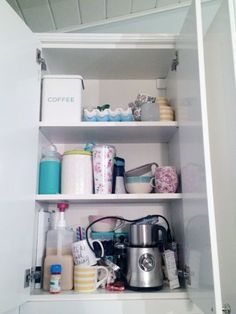 Home organization - 65 Organized Coffee Cabinet – Home organization Organisation Hacks, Linen Closet Organization, Kitchen Organization, Organizing Ideas, Coffee Cabinet, Tupperware Organizing, Grand Menage, White Appliances, Declutter Your Home