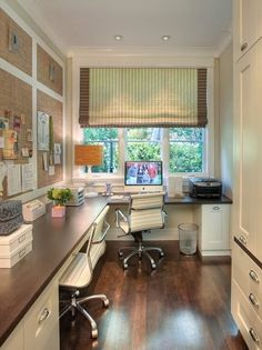 Corner Office Designs and Space Saving Furniture Placement Ideas Love all the free counter space in this home office. Lots of crafting area!Love all the free counter space in this home office. Lots of crafting area! Tiny Home Office, Feminine Home Offices, Small Home Offices, Home Office Space, Home Office Decor, Office Ideas, Small Office, Office Spaces, Work Spaces