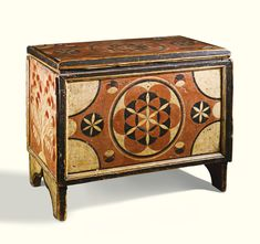 Red, white and black paint decorated pine child's blanket chest, possibly Rhode Island or New York, circa 1830 | Lot | Sotheby's $82,000