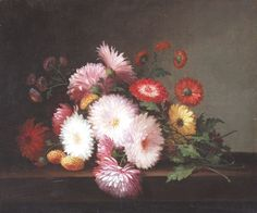 LACROIX, PAUL American (d. 1869) Chrysanthemums on a Table,