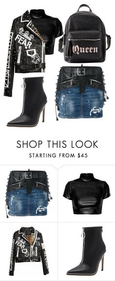 """Rebel look #fashion #leather #black #denim #grunge #ramoneska #whattowearit #rebellook"" by andzelika-niklewicz on Polyvore featuring Dsquared2 and Charlotte Russe"