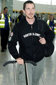 Christian Bale at Heathrow Airport, 2008.