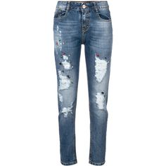 Blugirl distressed embellished jeans ($236) ❤ liked on Polyvore featuring jeans, blue, zipper jeans, button-fly jeans, torn jeans, distressed zipper jeans and 5 pocket jeans