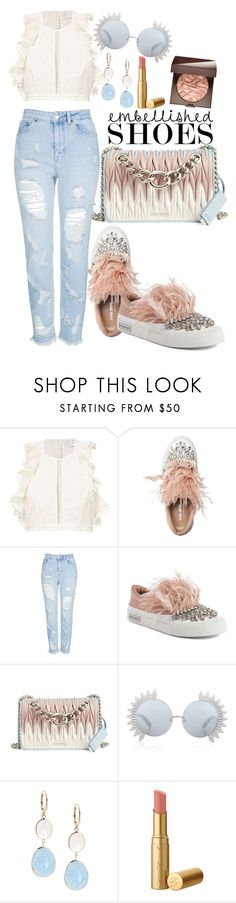 """""""Untitled #518"""" by dreamer3108 on Polyvore featuring Zimmermann, Miu Miu, Topshop, Linda Farrow, Saks Fifth Avenue, Laura Mercier and embellishedshoes"""
