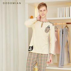 d95b5dca19 Men Loungewear Soft Bathrobe Set Plaid Sexy Sleepwear For Men 100% Cotton  Bottom Clothing Set Pijama
