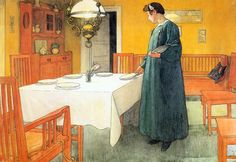 More Carl Larsson. I'm attached to the deep yellow walls.