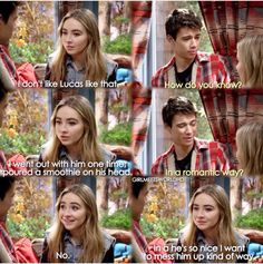 "#GirlMeetsWorld ""Girl Meets Ski Lodge"" (I don't think she meant that, I think she does like Lucas. That's their thing, she picks on him and he lets her)"