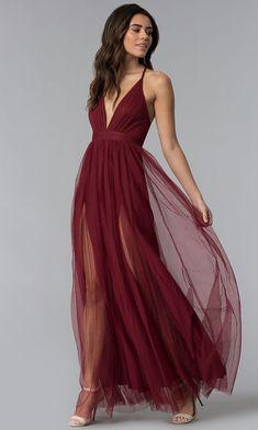 f4fe5d97250 New Style Burgundy Chiffon Long Prom Dress