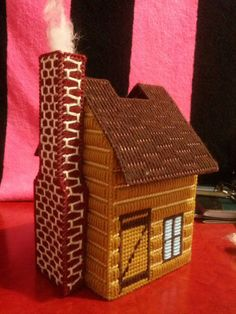 Country House Tissue Box Cover by SilverNeedleCrafts on Etsy, $15.00