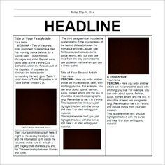 Page Google Docs Newspaper Article Template  Very Good