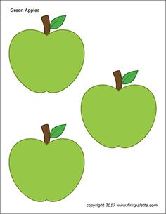 Free printable apple coloring pages and colored apples to use for crafts and various learning activities.