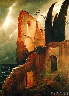Arnold Bocklin - Ruin by the Sea, 1881