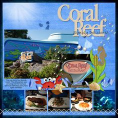 #papercraft #scrapbook #layout  Coral Reef Restaurant - MouseScrappers.com
