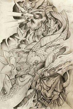Samurai Tattoo, Samurai Art, Japanese Hand Tattoos, Snake Dragon, Body Art Tattoos, Tattoo Drawings, Sick Tattoo, Koi Fish Tattoo, Asian Tattoos