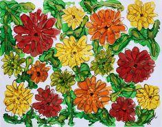 """Bold Zinnia Garden"" Lovitude Soul Painting by Annie Pryor"