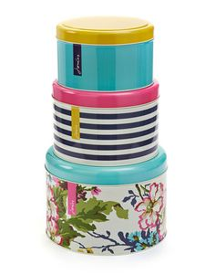 Joules CAKETINSET Set of 3 Joules Print Cake Tins, Multi. Good tins come in threes! Keep your baked goods away from sticky fingers in style with this set of stacking tins. Each is adorned with an exclusive print.