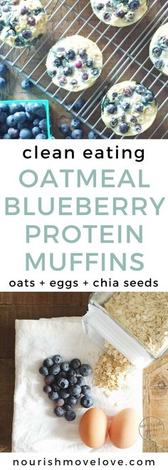 Healthy Oatmeal Blueberry Protein Muffins | clean eating recipes I clean eating muffins I healthy breakfast ideas I healthy snack ideas I snacks on the go II Nourish Move Love #cleaneatingrecipes #muffins #healthybreakfast