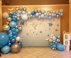 Today was sooo crazy, but it finally ended with this beauty! 🤩😍 Decor made by me! not all of it, just the balloons 🤪😇😁 . Birthday Decorations At Home, Birthday Balloon Decorations, Baby Shower Decorations, Blue Party Decorations, Boy Baby Shower Themes, Baby Shower Balloons, Baby Boy Balloons, Blue Balloons, Deco Ballon