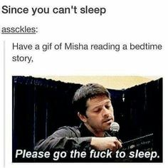 """Misha reading bedtime stories that he wrote... """"go the fuck to sleep"""""""