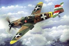 retrowar — Messerschmitt Bf in the Hungary Air Force -. Ww2 Aircraft, Fighter Aircraft, Military Aircraft, Fighter Jets, Heroes And Generals, Ukraine, Aircraft Painting, Airplane Art, Ww2 Planes