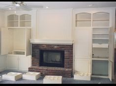 Fireplace with Entertainment Wall Set, built-in's with Pull-out Trays for DVD's, Adjustable Shelves