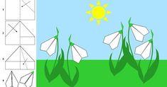 Spring Crafts For Kids, Art For Kids, Origami Flowers, Paper Flowers, Spring Activities, Spring Art, Origami Easy, Kirigami, Coloring Pages For Kids