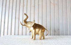 Large Brass Elephant // Solid Brass by genrestoration on Etsy, $38.00
