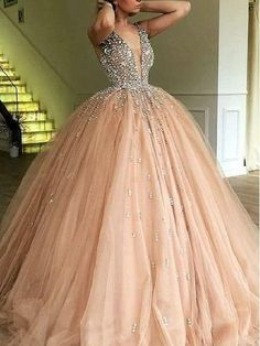 Luxury Ball Gown Champagne Tulle Dazzling Top Plunge V neck Prom Dress GDC1188 V Neck Prom Dresses, Beaded Prom Dress, Ball Gowns Prom, Prom Party Dresses, Tulle Dress, Ball Dresses, Homecoming Dresses, Chiffon Dresses, Dress Party