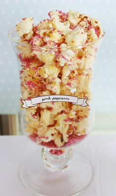 Love this Pink Popcorn displayed in an apothecary jar at a Pink, Mint, & Gold Unicorn Party with Lots of Really Great Ideas via Kara's Party Ideas KarasPartyIdeas.com #UnicornParty #GirlParty #PartyIdeas