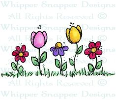 Flowers & Tulips - Whimsical - Floral/Garden - Rubber Stamps - Shop